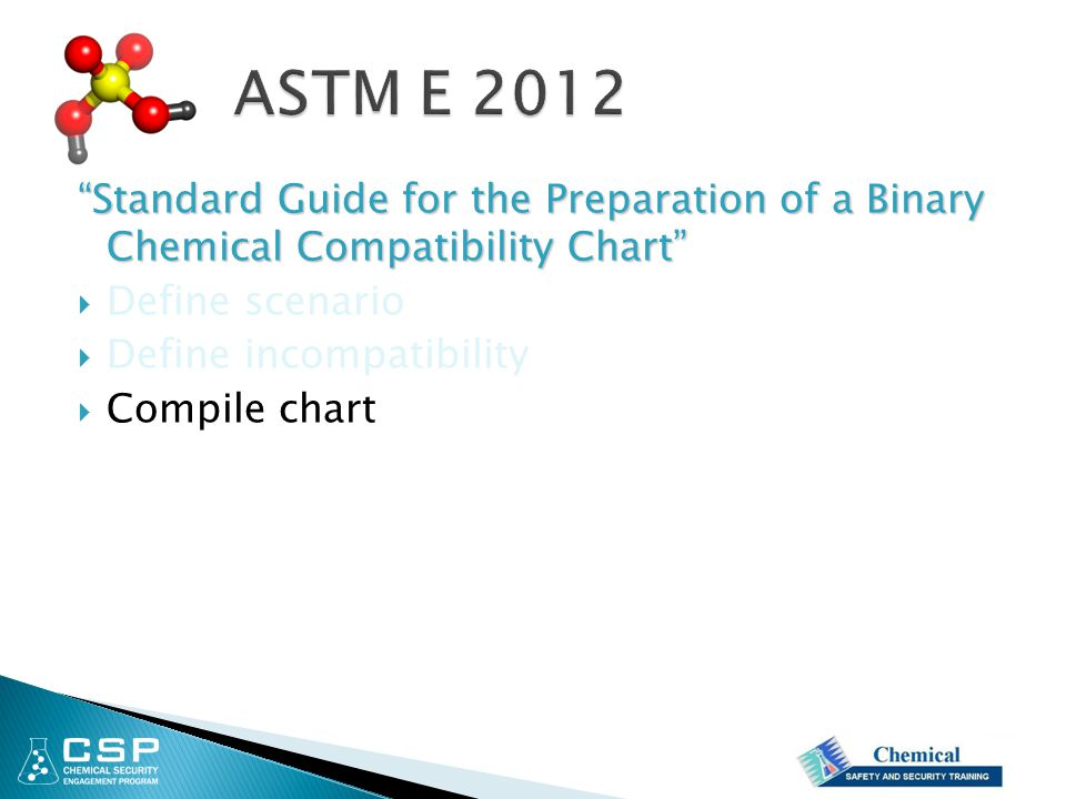 """Standard Guide for the Preparation of a Binary Chemical Compatibility Chart""  Define scenario  Define incompatibility  Compile chart"
