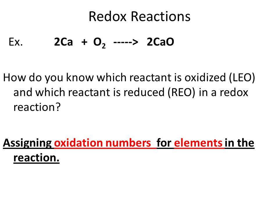 Redox Reactions Ex.