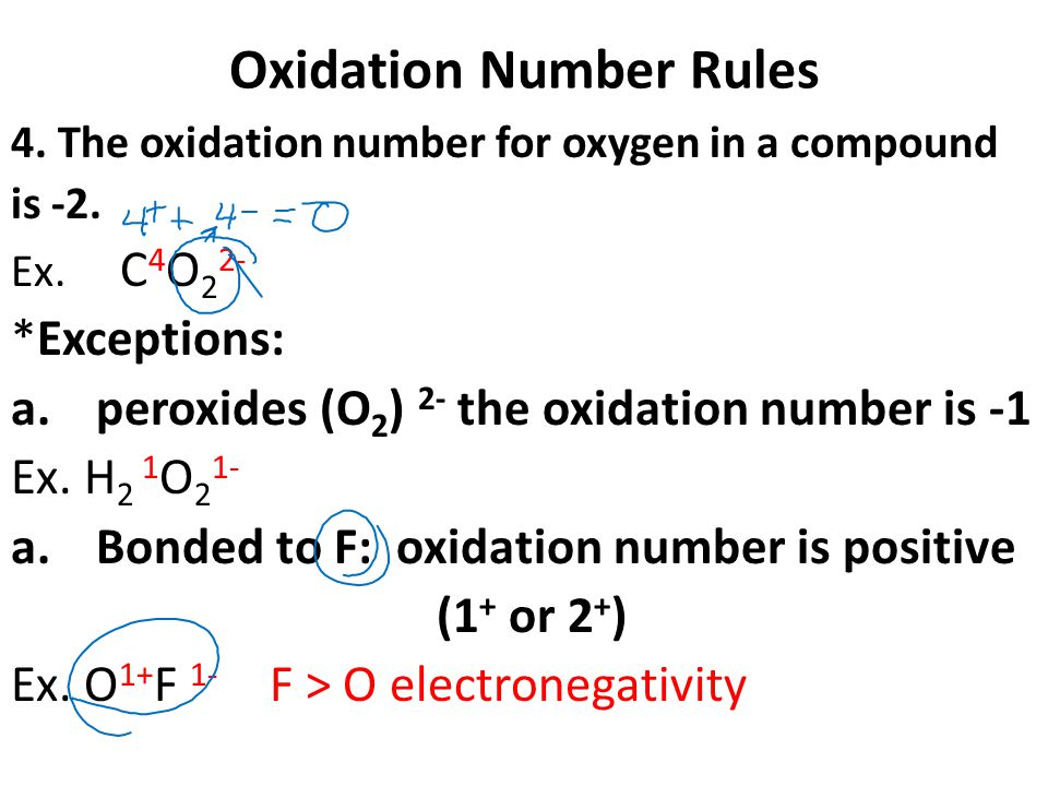 Oxidation Number Rules 4. The oxidation number for oxygen in a compound is -2.