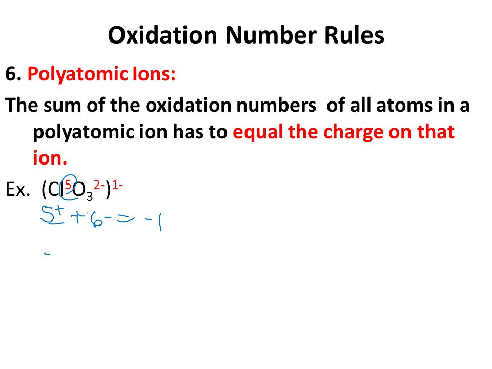 Oxidation Number Rules 6. Polyatomic Ions: The sum of the oxidation numbers of all atoms in a polyatomic ion has to equal the charge on that ion. Ex.