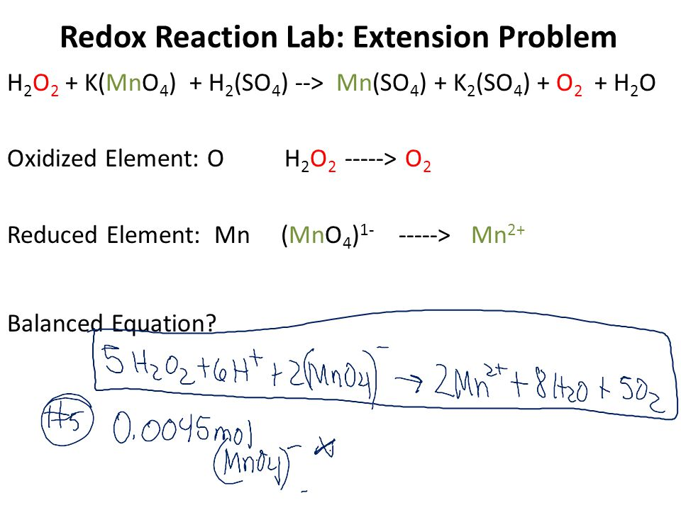 Redox Reaction Lab: Extension Problem H 2 O 2 + K(MnO 4 ) + H 2 (SO 4 ) --> Mn(SO 4 ) + K 2 (SO 4 ) + O 2 + H 2 O Oxidized Element: O H 2 O 2 -----> O 2 Reduced Element: Mn (MnO 4 ) 1- -----> Mn 2+ Balanced Equation
