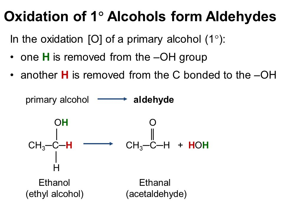 Oxidation of 1  Alcohols form Aldehydes In the oxidation [O] of a primary alcohol (1  ): one H is removed from the –OH group another H is removed fr