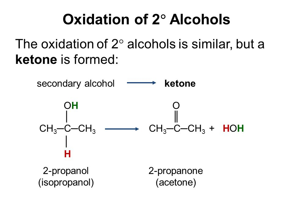 Oxidation of 2  Alcohols The oxidation of 2  alcohols is similar, but a ketone is formed: secondary alcohol ketone OH O │ ║ CH 3 ─C─CH 3 CH 3 ─C─CH