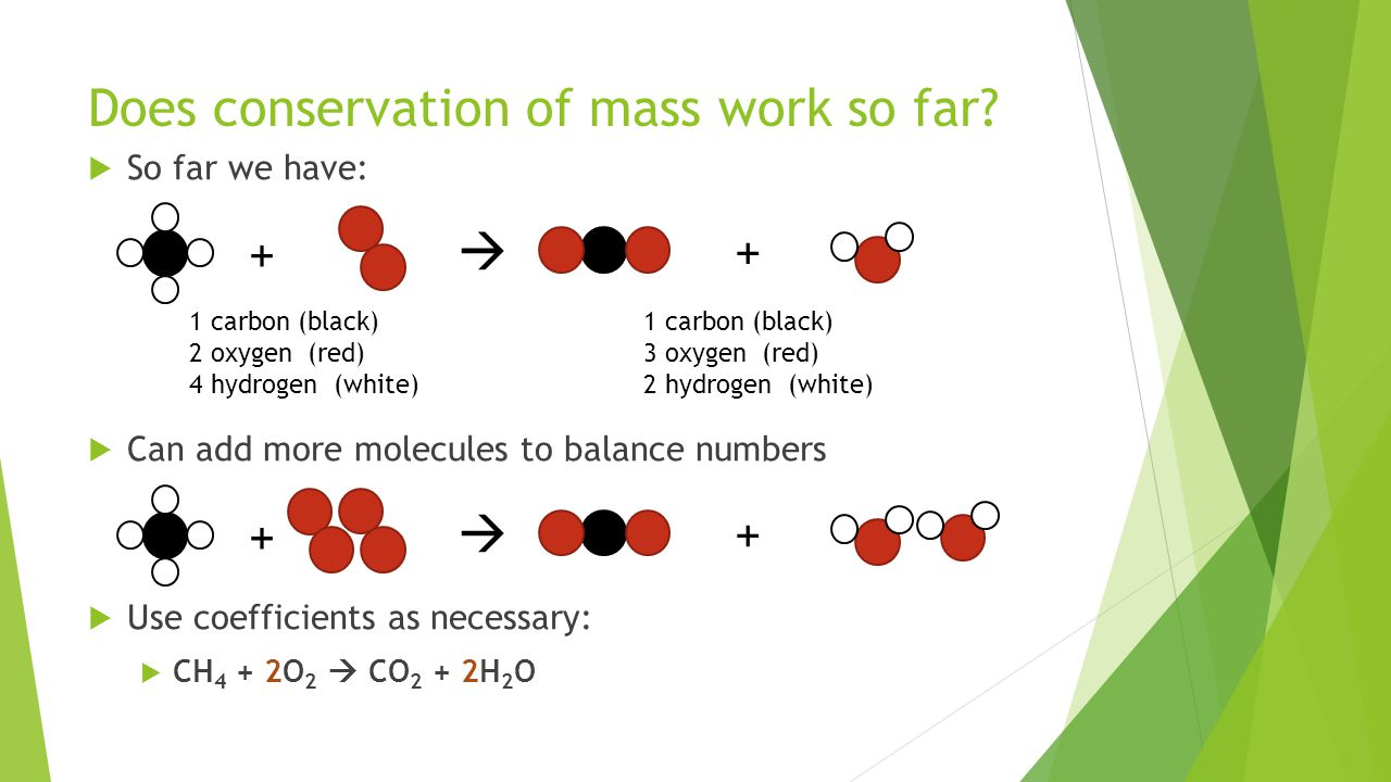 Does conservation of mass work so far.