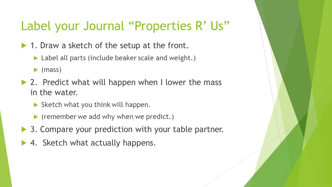 Label your Journal Properties R' Us  1. Draw a sketch of the setup at the front.