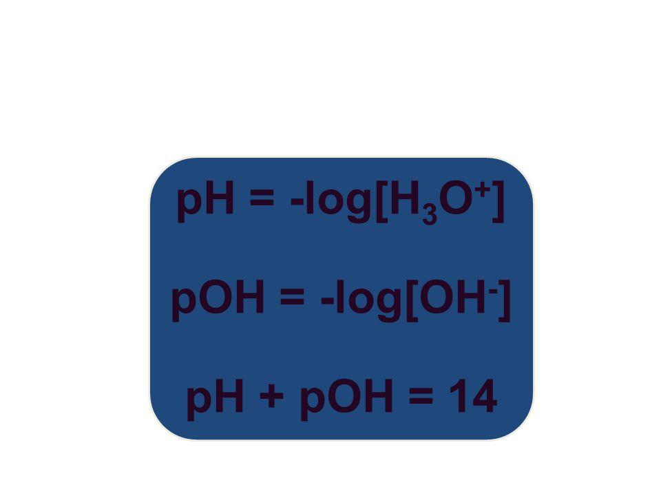 pH = -log[H 3 O + ] pOH = -log[OH - ] pH + pOH = 14