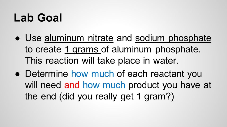 How much of each reactant.Goal = 1 gram of aluminum phosphate.