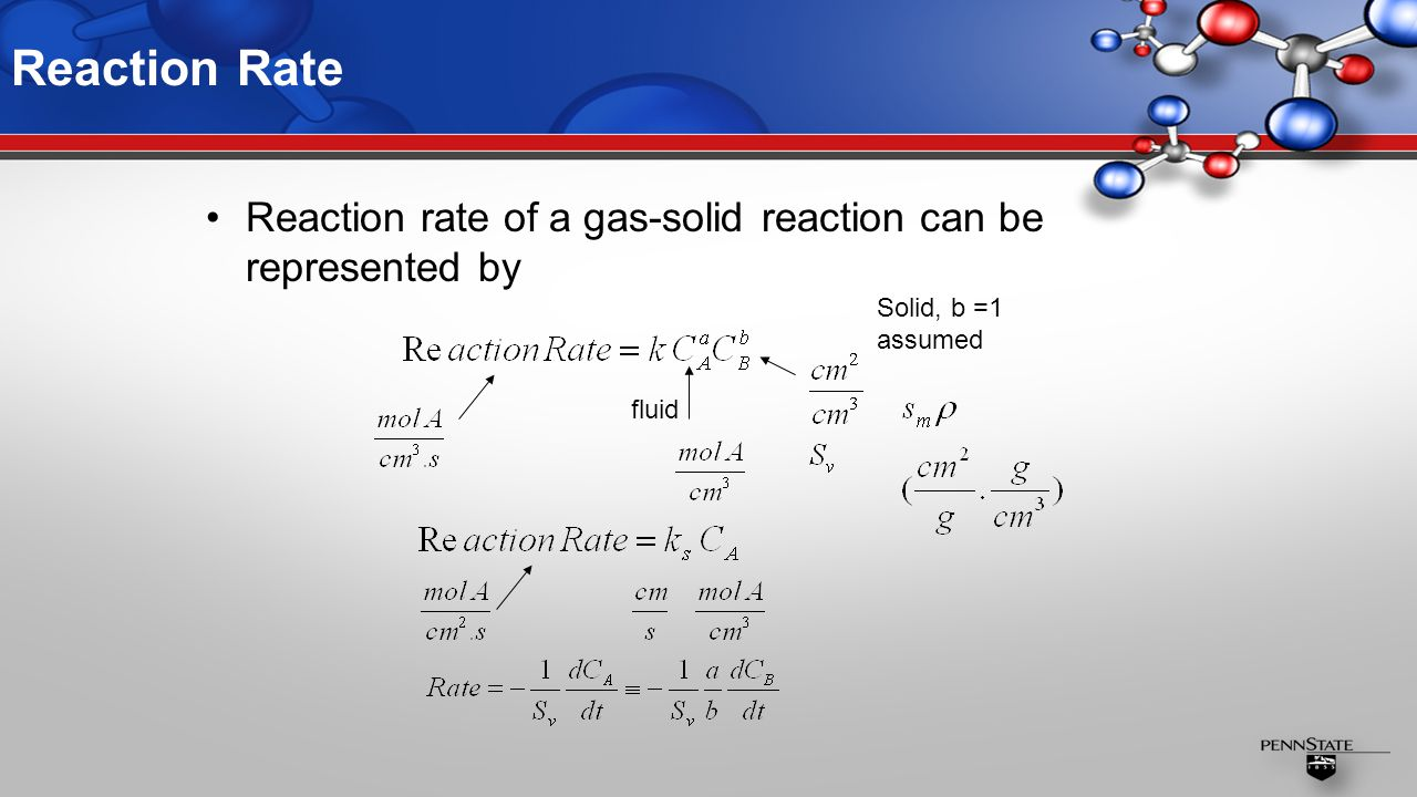 Reaction Rate Reaction rate of a gas-solid reaction can be represented by fluid Solid, b =1 assumed