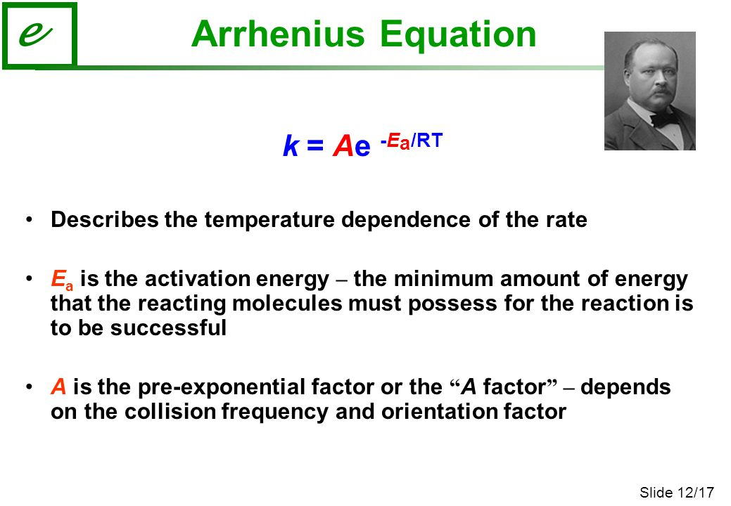 Slide 12/17 e Arrhenius Equation k = Ae -E a /RT Describes the temperature dependence of the rate E a is the activation energy – the minimum amount of energy that the reacting molecules must possess for the reaction is to be successful A is the pre-exponential factor or the A factor – depends on the collision frequency and orientation factor