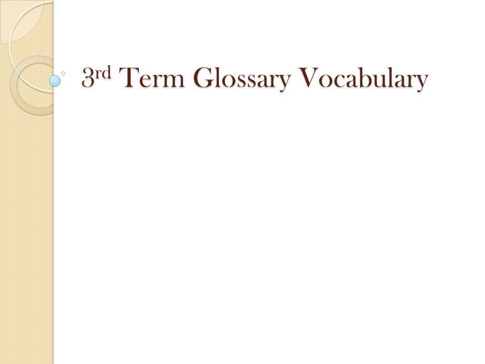 3 rd Term Glossary Vocabulary
