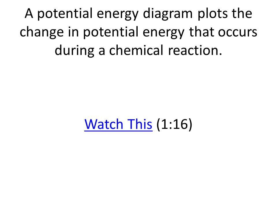 A potential energy diagram plots the change in potential energy that occurs during a chemical reaction.
