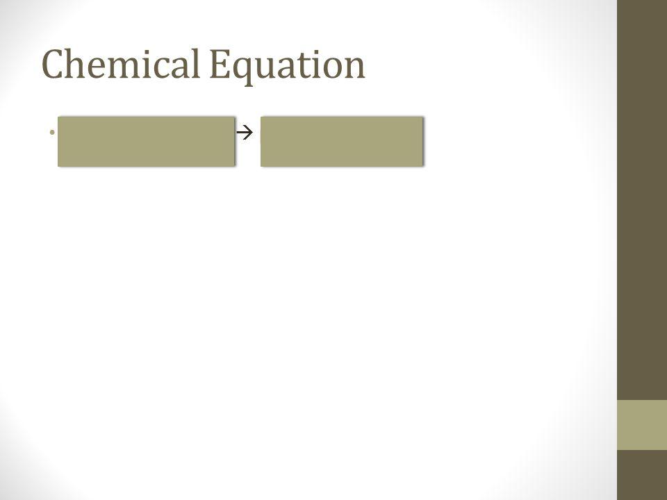 Chemical Equation Reactant + reactant  product + product