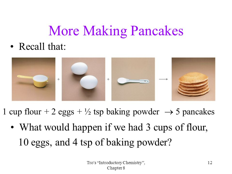 12Tro s Introductory Chemistry , Chapter 8 More Making Pancakes Recall that: What would happen if we had 3 cups of flour, 10 eggs, and 4 tsp of baking powder.