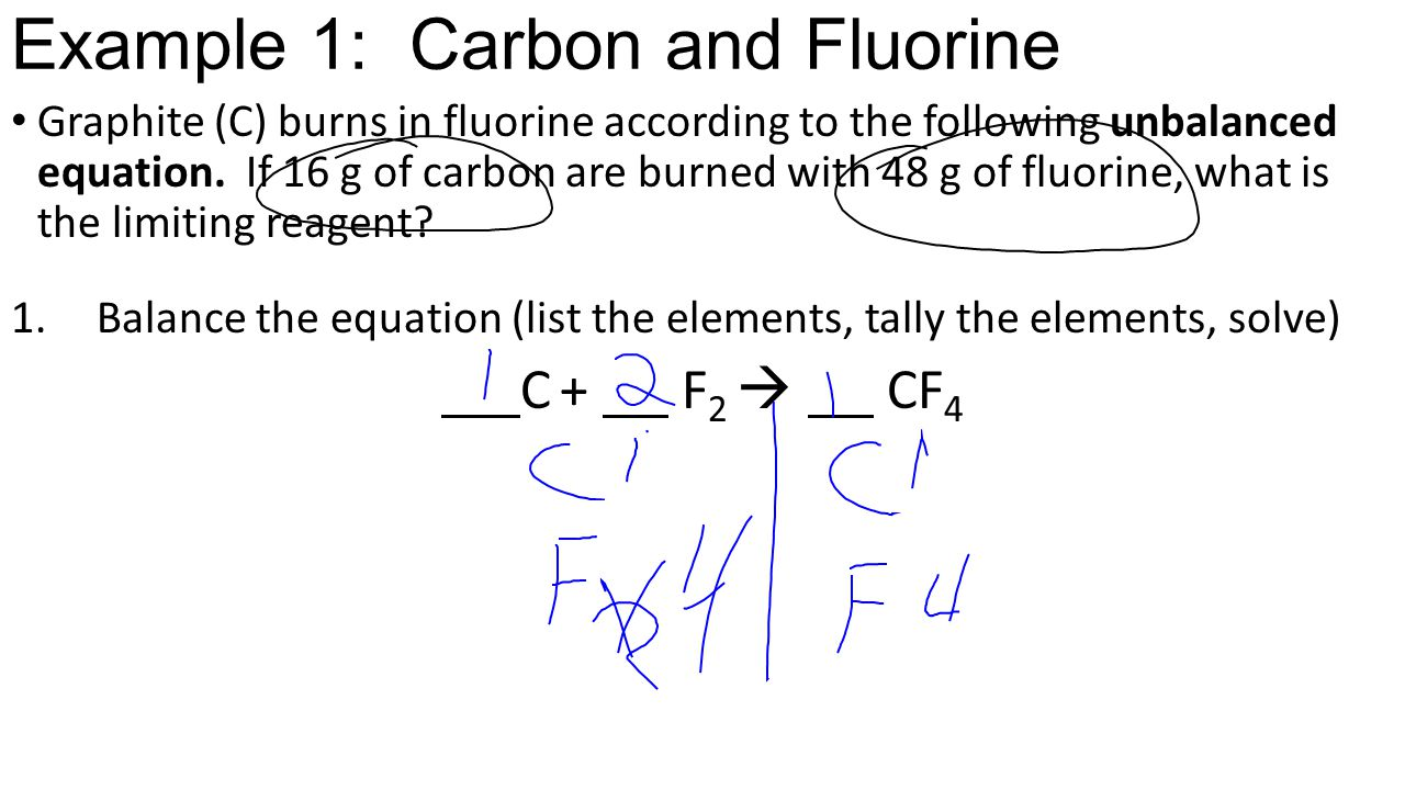 Example 1: Carbon and Fluorine Graphite (C) burns in fluorine according to the following unbalanced equation.