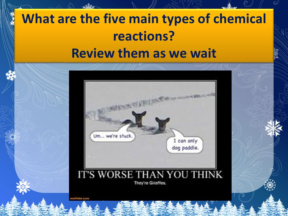 What are the five main types of chemical reactions Review them as we wait