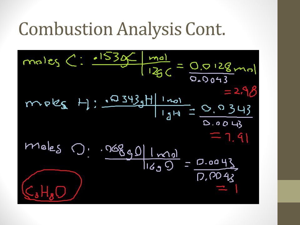 Combustion Analysis Cont.