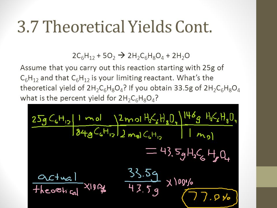 3.7 Theoretical Yields Cont.