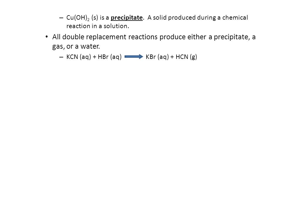 – Cu(OH) 2 (s) is a precipitate. A solid produced during a chemical reaction in a solution.