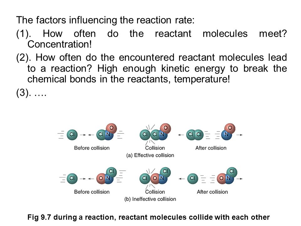 The factors influencing the reaction rate: (1). How often do the reactant molecules meet.