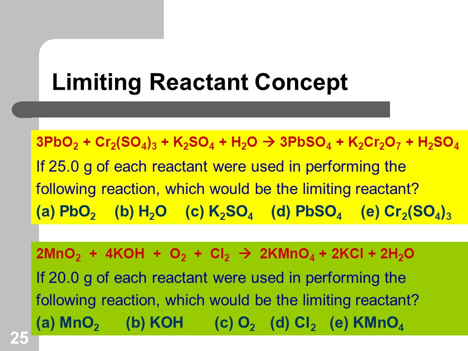 25 Limiting Reactant Concept If 25.0 g of each reactant were used in performing the following reaction, which would be the limiting reactant.