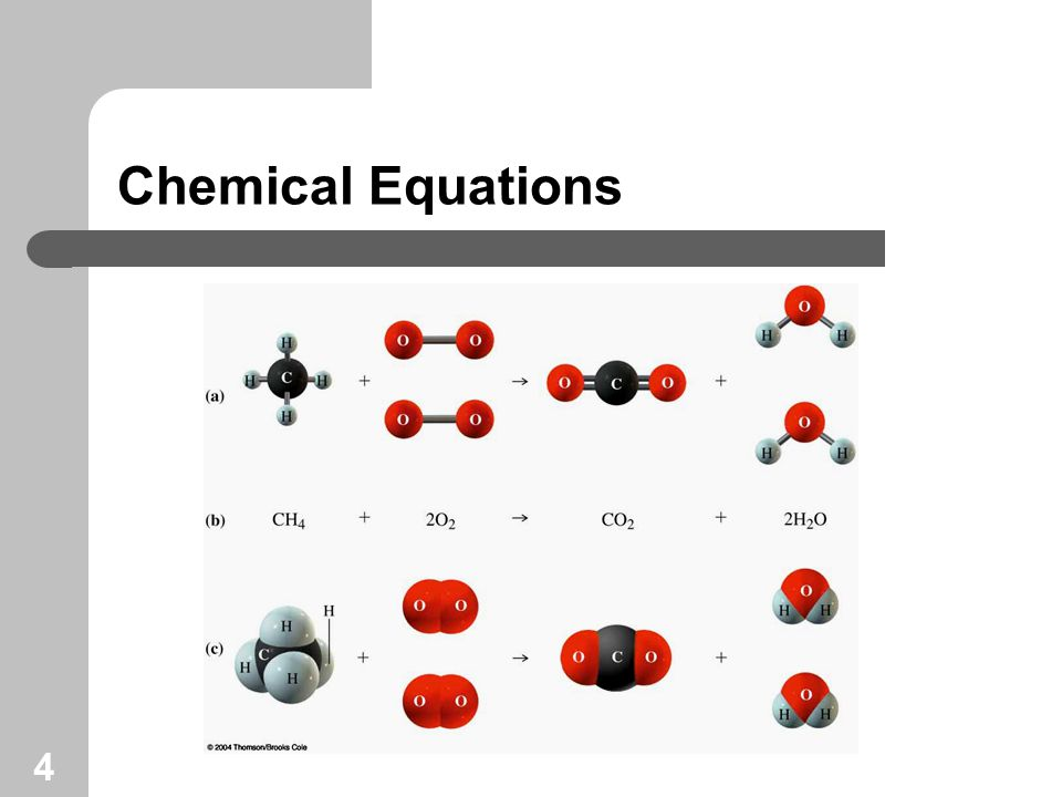 5 Look at the information an equation provides: reactants yields products 1 formula unit 3 molecules 2 atoms 3 molecules 1 mole 3 moles 2 moles 3 moles 159.7 g 84.0 g 111.7 g 132 g