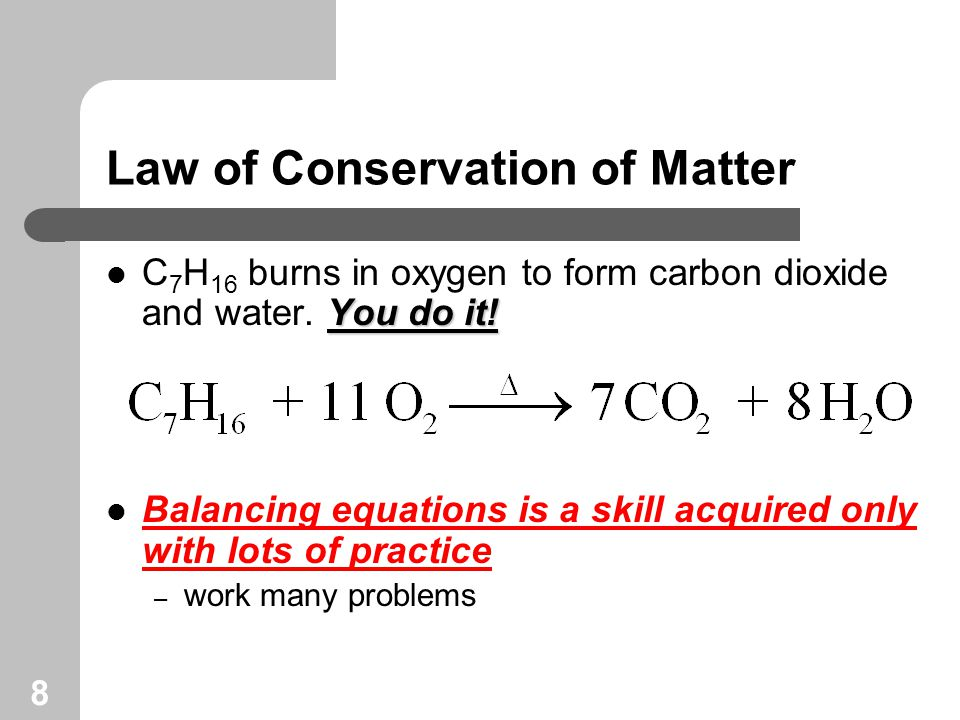 9 Chemical Equations Look at the information an equation provides: reactants yields products 1 formula unit 3 molecules 2 atoms 3 molecules 1 mole 3 moles 2 moles 3 moles 159.7 g 84.0 g 111.7 g 132 g