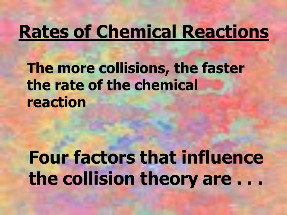 Four factors that influence the collision theory are... Rates of Chemical Reactions The more collisions, the faster the rate of the chemical reaction