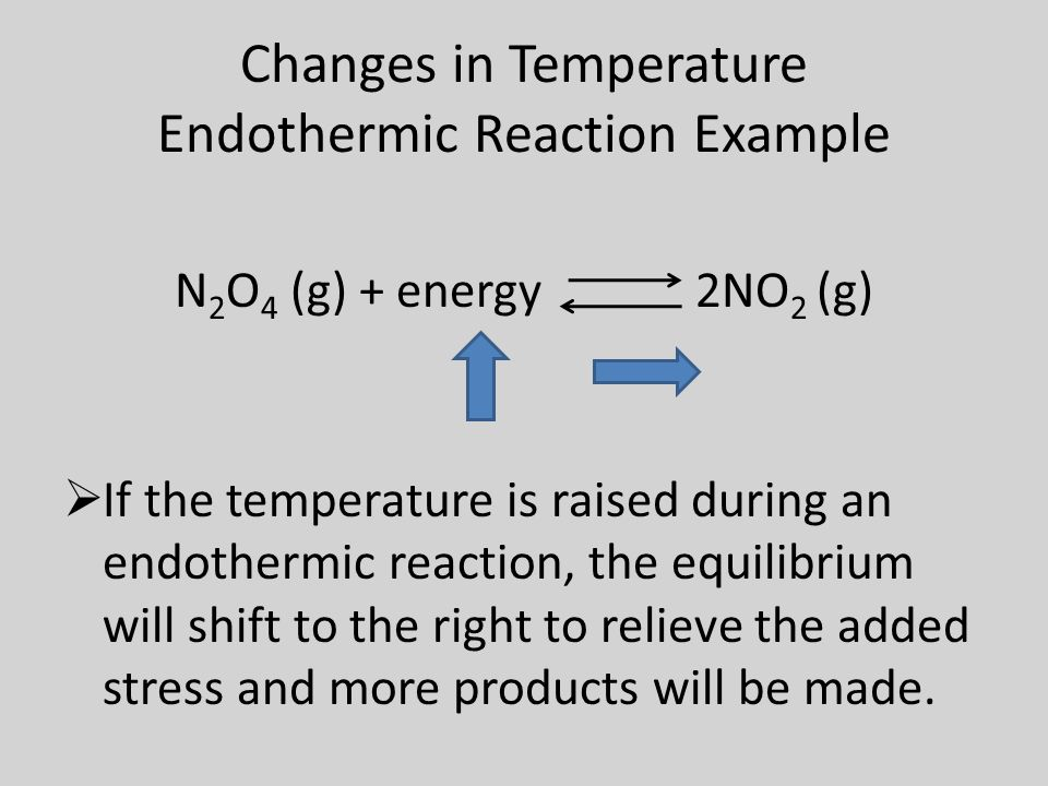 Changes in Temperature Endothermic Reaction Example N 2 O 4 (g) + energy 2NO 2 (g)  If the temperature is raised during an endothermic reaction, the equilibrium will shift to the right to relieve the added stress and more products will be made.