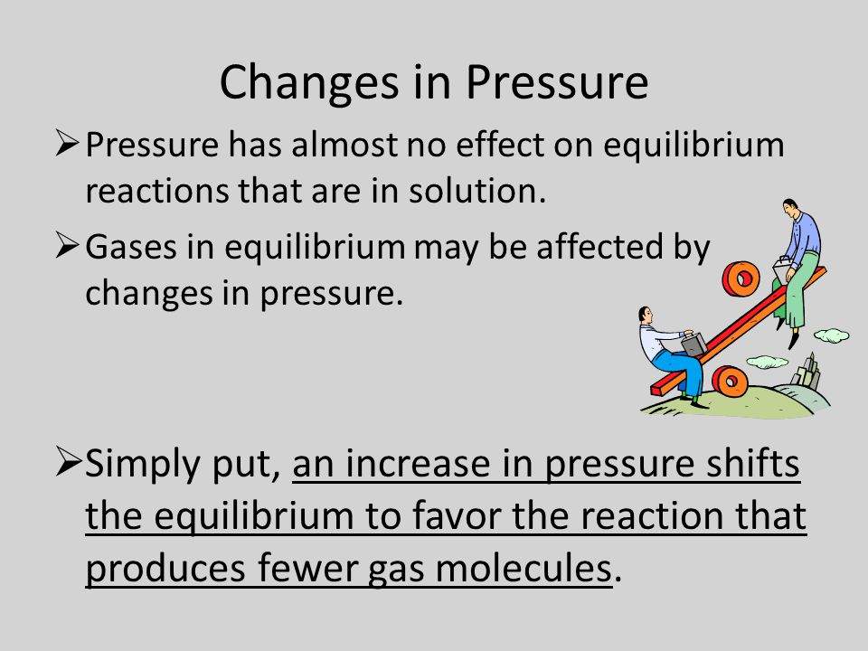 Changes in Pressure  Pressure has almost no effect on equilibrium reactions that are in solution.