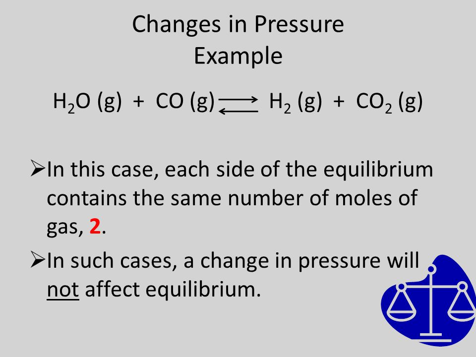 Changes in Pressure Example H 2 O (g) + CO (g) H 2 (g) + CO 2 (g)  In this case, each side of the equilibrium contains the same number of moles of gas, 2.
