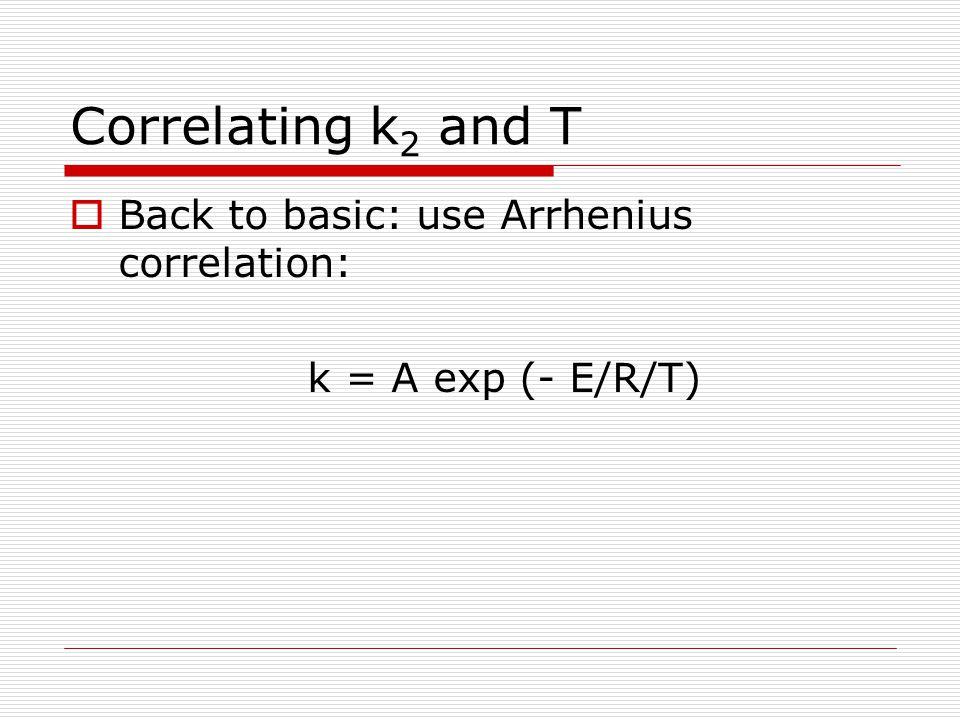 Correlating k 2 and T  Back to basic: use Arrhenius correlation: k = A exp (- E/R/T)