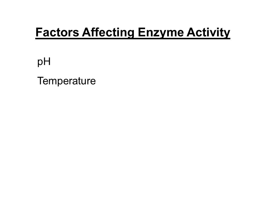 Factors Affecting Enzyme Activity pH Temperature