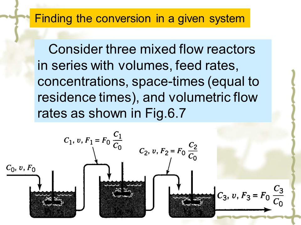 Finding the conversion in a given system Consider three mixed flow reactors in series with volumes, feed rates, concentrations, space-times (equal to
