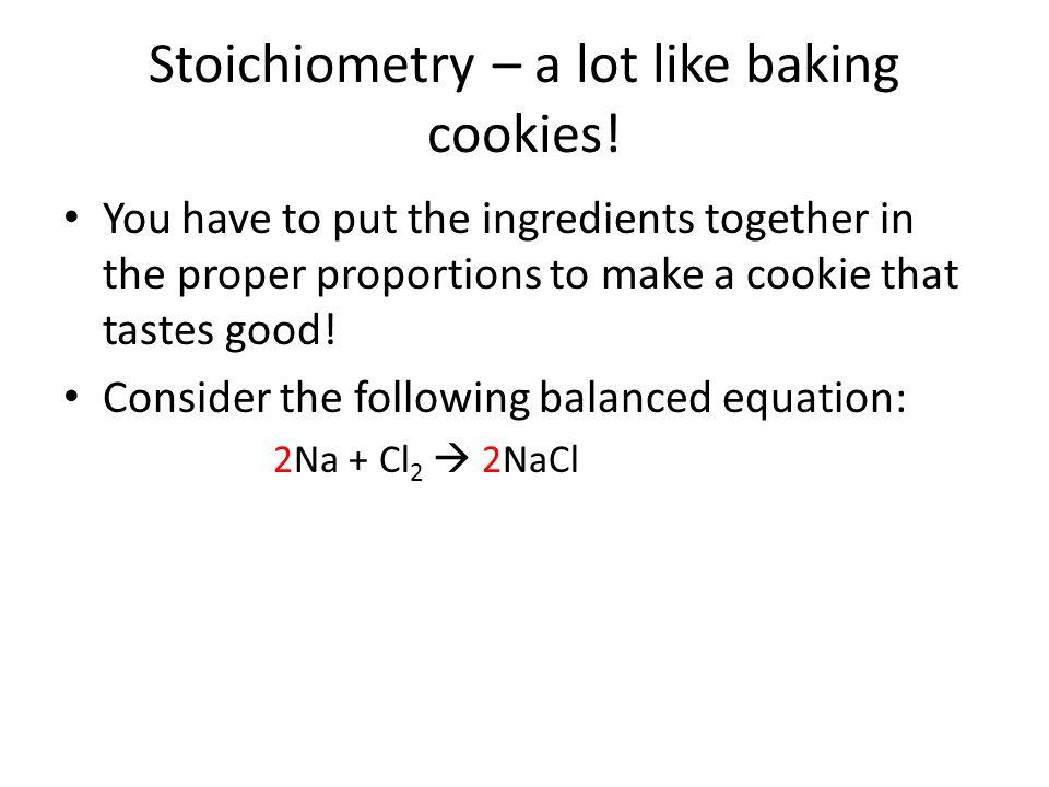 Stoichiometry – a lot like baking cookies.