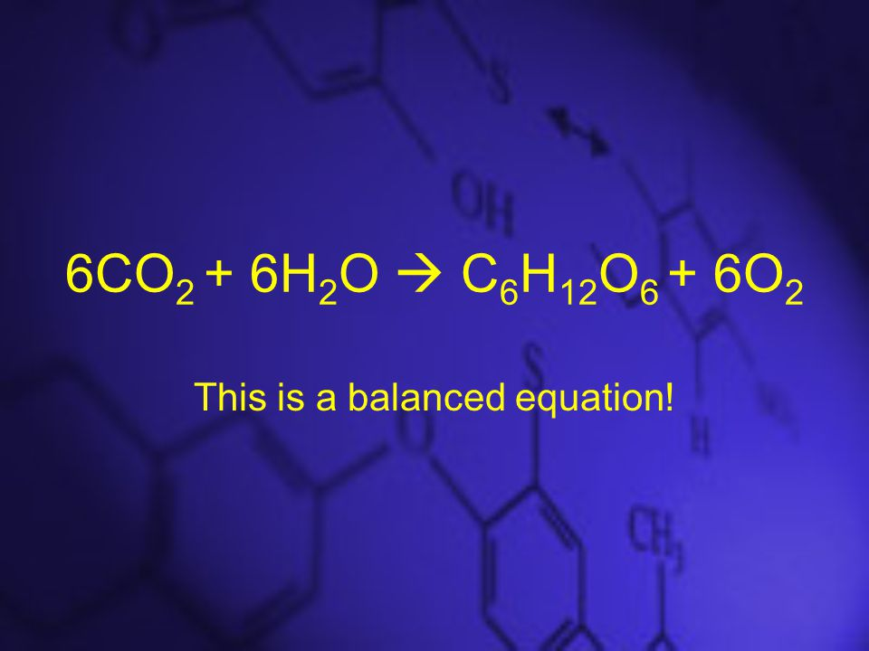 6CO 2 + 6H 2 O  C 6 H 12 O 6 + 6O 2 This is a balanced equation!
