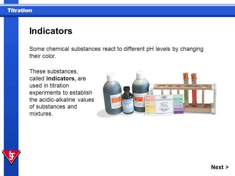 Titration Indicators Other indicators change color at different acid-alkaline levels.