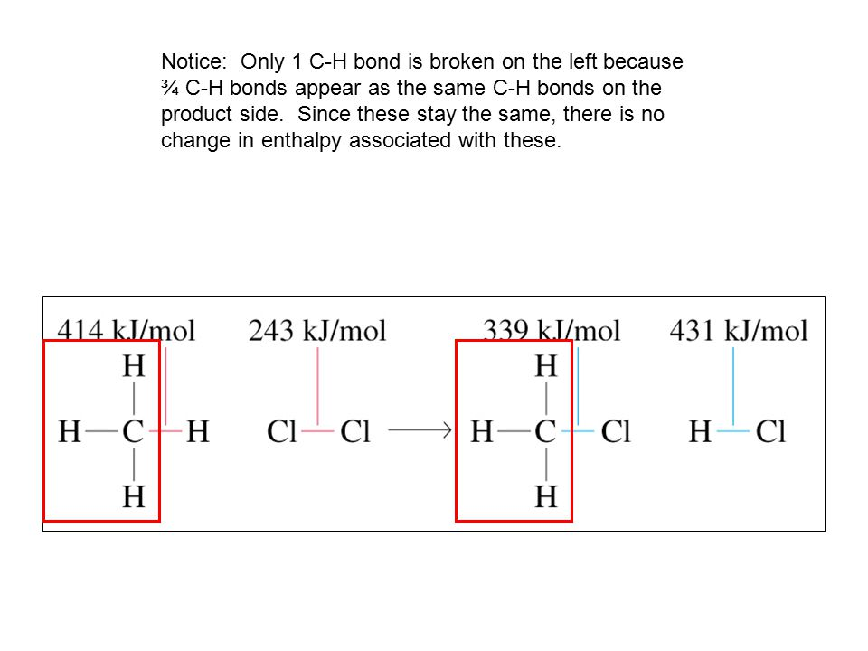 Notice: Only 1 C-H bond is broken on the left because ¾ C-H bonds appear as the same C-H bonds on the product side.