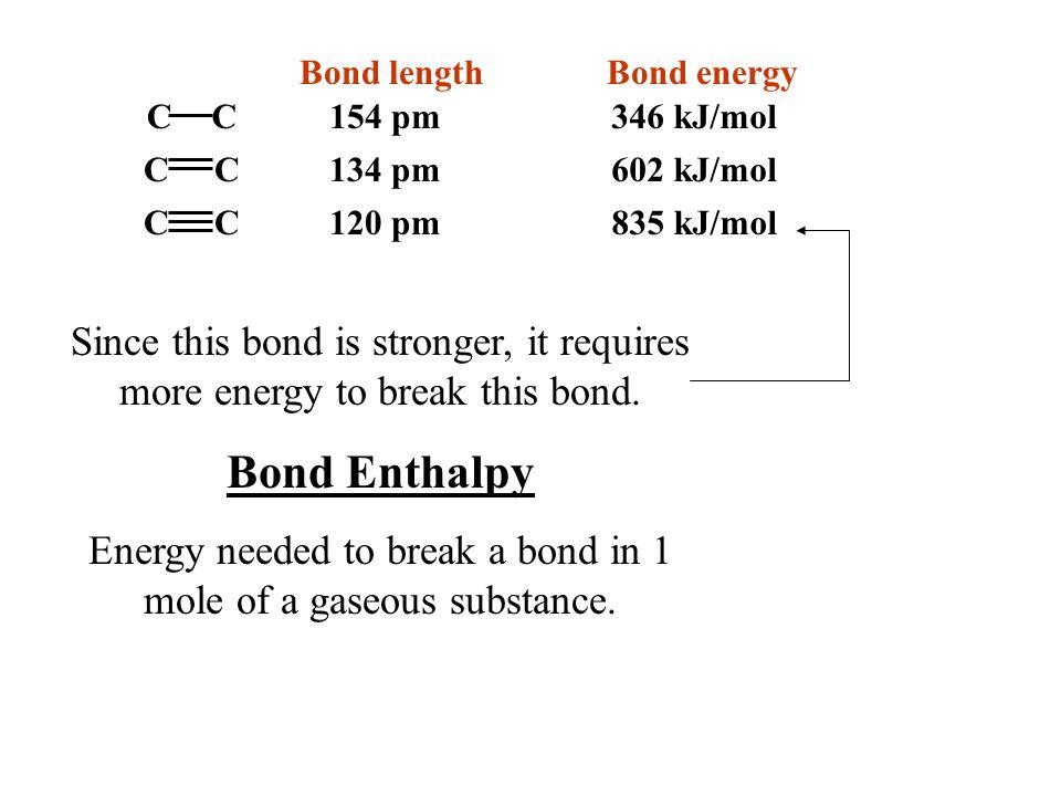 Bond length Bond energy C C C C CC 154 pm 134 pm 120 pm835 kJ/mol 602 kJ/mol 346 kJ/mol Since this bond is stronger, it requires more energy to break this bond.