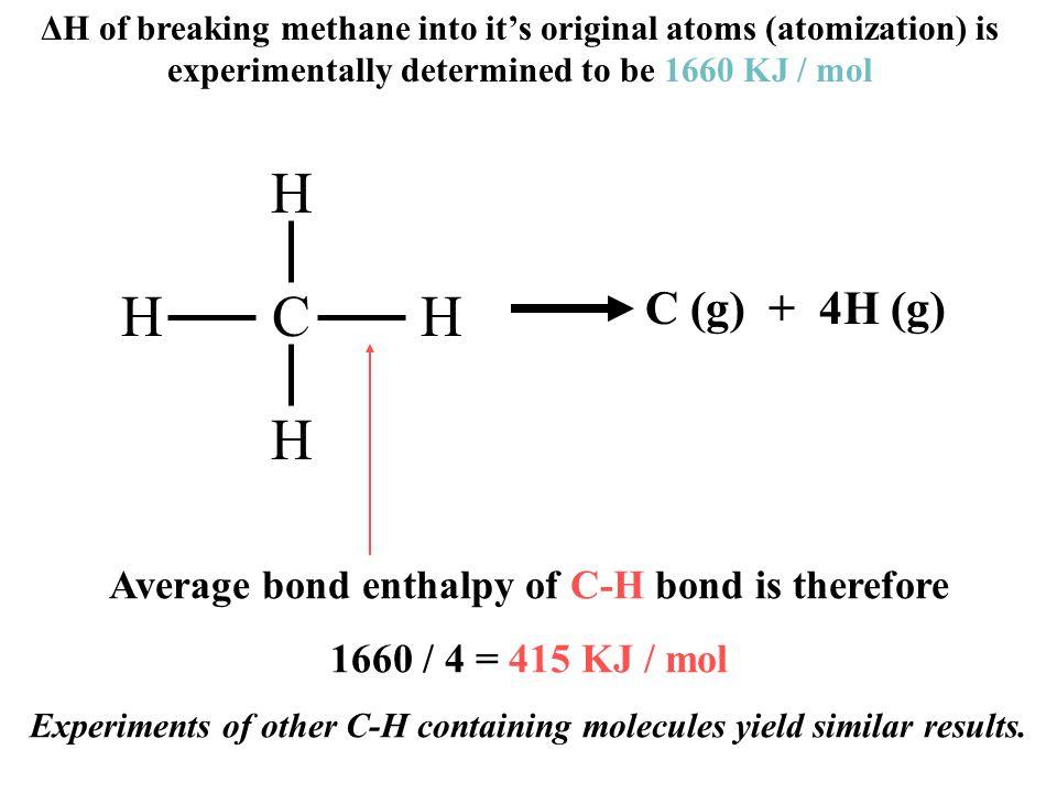 ΔH of breaking methane into it's original atoms (atomization) is experimentally determined to be 1660 KJ / mol CH H H H Average bond enthalpy of C-H bond is therefore 1660 / 4 = 415 KJ / mol Experiments of other C-H containing molecules yield similar results.