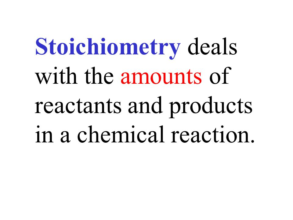 Stoichiometry deals with the amounts of reactants and products in a chemical reaction.