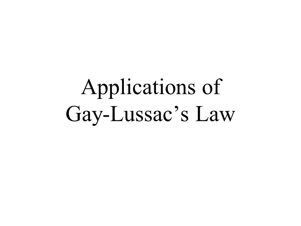 Applications of Gay-Lussac's Law