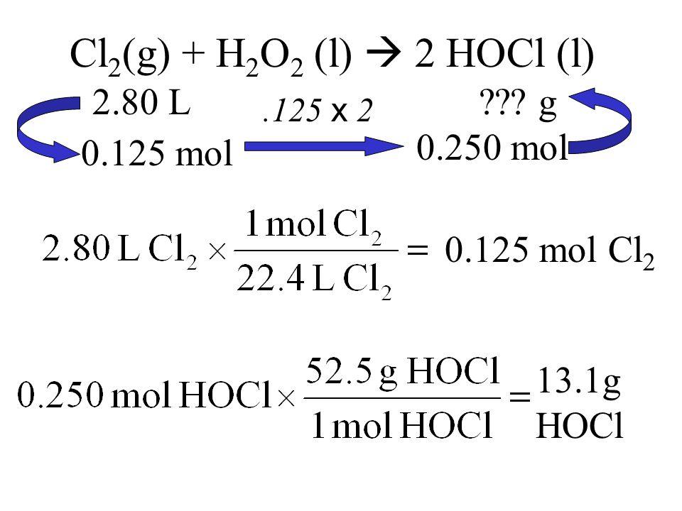 Cl 2 (g) + H 2 O 2 (l)  2 HOCl (l) 2.80 L .