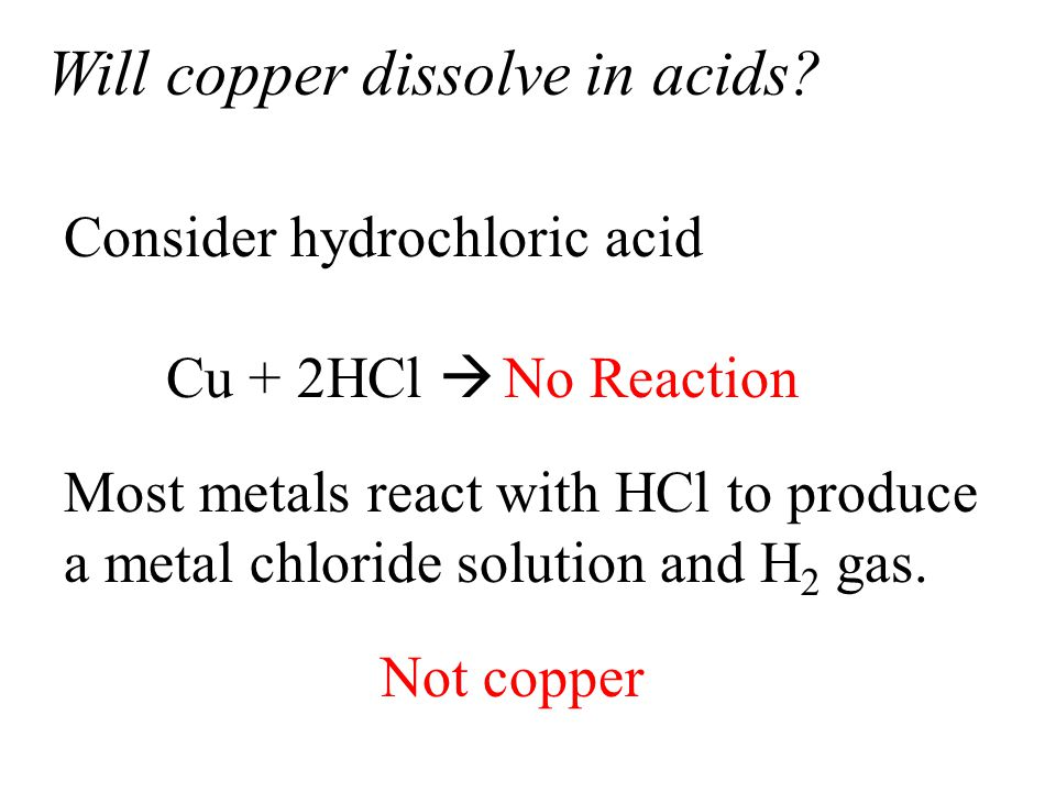 Will copper dissolve in acids.