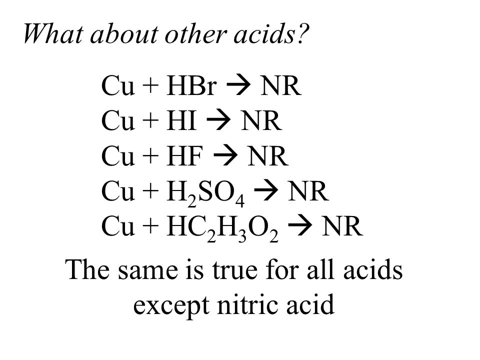 What about other acids? The same is true for all acids except nitric acid Cu + HBr  NR Cu + HI  NR Cu + HF  NR Cu + H 2 SO 4  NR Cu + HC 2 H 3 O 2