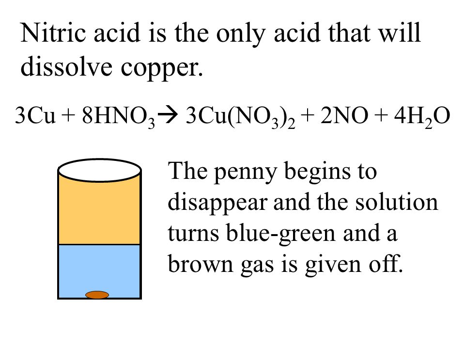 Nitric acid is the only acid that will dissolve copper. The penny begins to disappear and the solution turns blue-green and a brown gas is given off.