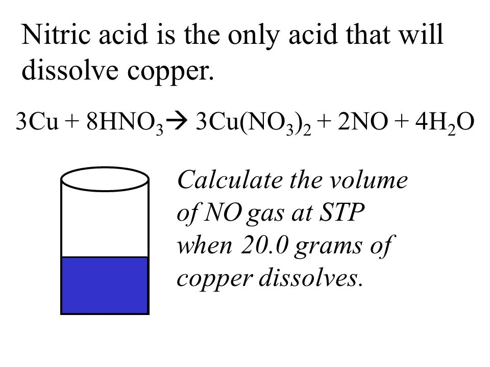Nitric acid is the only acid that will dissolve copper.