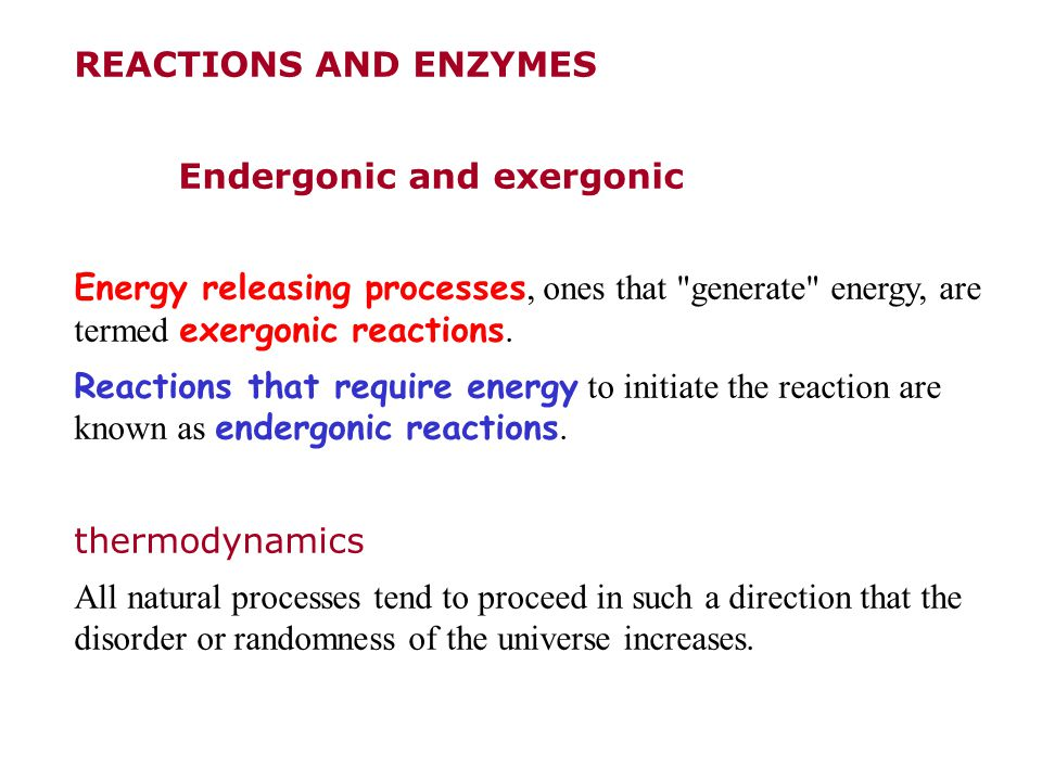 REACTIONS AND ENZYMES Endergonic and exergonic Energy releasing processes, ones that generate energy, are termed exergonic reactions.
