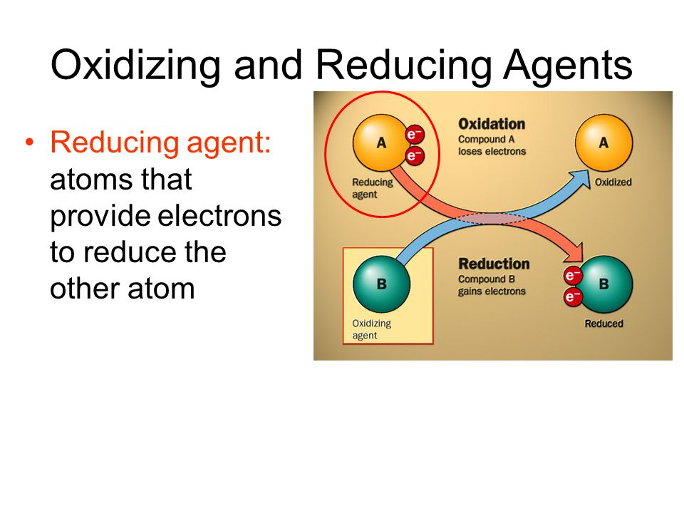 Oxidizing and Reducing Agents Reducing agent: atoms that provide electrons to reduce the other atom