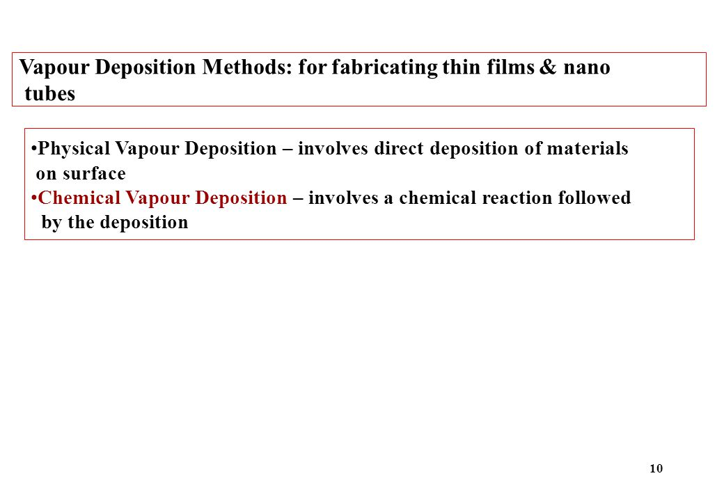 Vapour Deposition Methods: for fabricating thin films & nano tubes Physical Vapour Deposition – involves direct deposition of materials on surface Chemical Vapour Deposition – involves a chemical reaction followed by the deposition 10