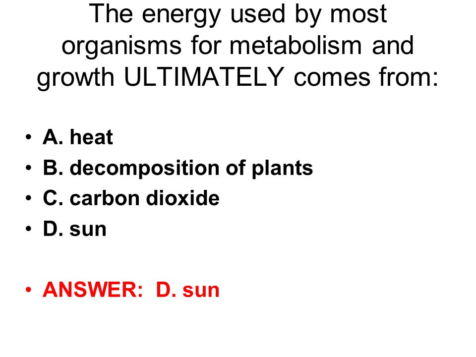 The energy used by most organisms for metabolism and growth ULTIMATELY comes from: A.